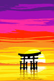 Japanese Tori Gate by the Lake at Sunrise. EPS10 Vector Stock Photo