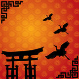 Japanese torii and crane wallpaper. Traditional Asian lotus pattern wallpaper with Japanese temple gate and flying cranes Royalty Free Stock Photo