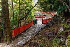 Japanese Torii and Fence. In the forest near the Kamikura temple, Kumano Kodo track, Shingu, Japan royalty free stock photos