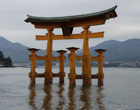 Japanese Torii Gate in Sea Royalty Free Stock Photos