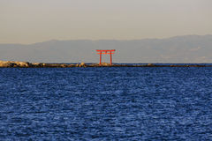 Japanese Torii Gate in the Water Royalty Free Stock Photo