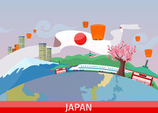 Japanese Tourist Attractions Flat Vector Concept Royalty Free Stock Photos