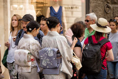 Japanese tourists Florence Royalty Free Stock Photo