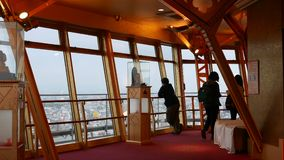 Japanese tourists make pictures on observation platform Osaka, Japan. Osaka , Japan - April, 09, 2018 Japanese tourists make pictures on observation platform stock video