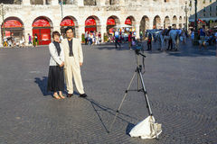 Japanese tourists take a foto Royalty Free Stock Photo