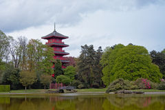 Japanese tower at the gardens of the Royal Palace of Laeken Royalty Free Stock Photo
