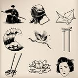 Japanese tradition style vectors isolated Royalty Free Stock Photography