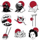 Japanese tradition warrior style Illustration royalty free illustration