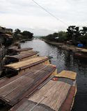 Japanese traditional boats parking on the side of canal. royalty free stock images