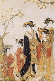 Japanese traditional clothing. Japanese traditional painting form float world draw, many of them are described in the dress of the ancient traditional Japanese Royalty Free Stock Photography