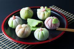 Japanese traditional confectionery wagashi. Japanese traditional confectionery cake wagashi served on plate Royalty Free Stock Photos