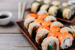 Japanese sushi rolls set restaurant serving Royalty Free Stock Photo