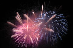Japanese traditional fireworks in the night sky Stock Image
