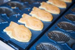 Japanese traditional fish shaped cake. Croissant taiyaki Royalty Free Stock Image