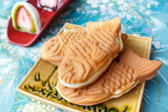 Japanese traditional fish-shaped cake, Taiyaki. Royalty Free Stock Photos