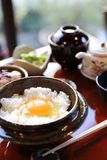 Japanese traditional food mixes a raw egg and rice. Set stock image