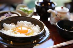 Japanese traditional food mixes a raw egg and rice. Set royalty free stock photography