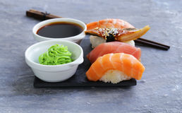 Japanese traditional food sushi with salmon, tuna. And shrimp royalty free stock photos