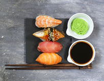 Japanese traditional food sushi with salmon, tuna Royalty Free Stock Photography
