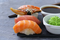 Japanese traditional food sushi with salmon, tuna Royalty Free Stock Photos