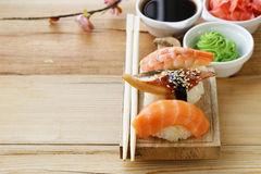 Japanese traditional food sushi with salmon, tuna. And shrimp royalty free stock images