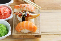 Japanese traditional food sushi with salmon, tuna. And shrimp stock images