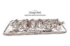 Japanese traditional food, Unagi roll sushi. Hand draw sketch vector. - Vector. Japanese traditional food, Unagi roll sushi. Hand draw sketch vector royalty free illustration