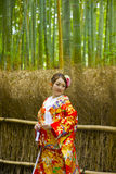 Japanese traditional girl portrait on bamboo forest Stock Photos