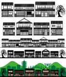 Japanese traditional houses. Machiya, Japanese traditional houses. Vector illustration Royalty Free Stock Photo