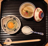 Japanese traditional Kaiseki Ryori. Traditional japanese cuisine served with eggs and fish Stock Photo