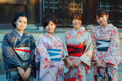 Japanese with Traditional Kimono Dress Royalty Free Stock Photos