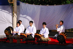 Japanese traditional musicians, Tokyo, Japan. Japanese traditional musicians play traditional instruments during Shichi-go-san Festival at Meiji Shrine, Tokyo Royalty Free Stock Photos