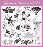 Japanese Traditional Ornaments Set. A set of traditional Japanese ornaments and oriental decorative designs Royalty Free Stock Image