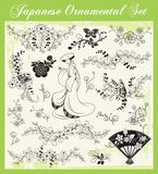 Japanese Traditional Ornaments Set. A set of traditional Japanese ornaments and oriental decorative designs Stock Photo