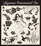 Japanese Traditional Ornaments Set. A set of traditional Japanese ornaments and oriental decorative designs Royalty Free Stock Photos