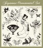 Japanese Traditional Ornaments Set. A set of traditional Japanese ornaments and oriental decorative designs Royalty Free Stock Photography