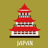 Japanese traditional pagoda flat icon Stock Images