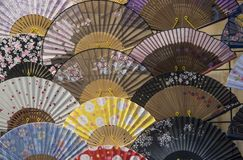 Japanese paper fan texture arragement Royalty Free Stock Photography