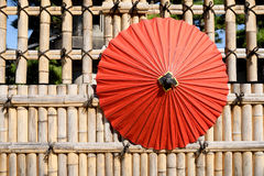 Japanese traditional red umbrella Royalty Free Stock Photo