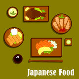 Japanese traditional seafood cuisine icons Royalty Free Stock Photography