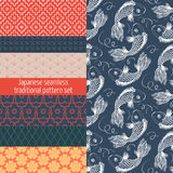 Japanese traditional seamless pattern set Stock Images