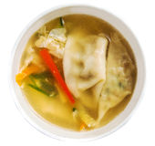 Japanese traditional soup with dumplings Royalty Free Stock Images