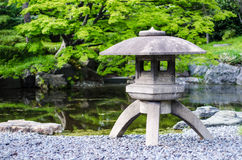 Japanese traditional stone lantern in a park in tokyo Stock Photography