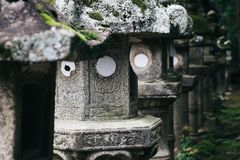 Japanese traditional stone lanterns in Japan. Japanese traditional stone lanterns in Nara, Japan Royalty Free Stock Photos