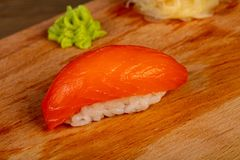 Sushi with salmon. Japanese traditional Sushi with salmon stock image