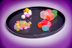 Japanese traditional sweets on the plate Stock Photography