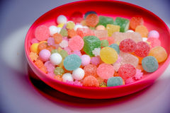 These are Japanese traditional sweets on the plate. Stock Photo