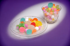 These are Japanese traditional sweets on the plate. Stock Images