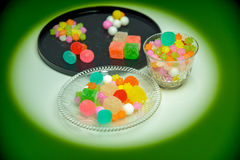 These are Japanese traditional sweets on the plate. Royalty Free Stock Photography