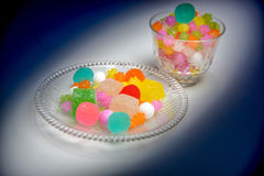 These are Japanese traditional sweets on the plate. Royalty Free Stock Image